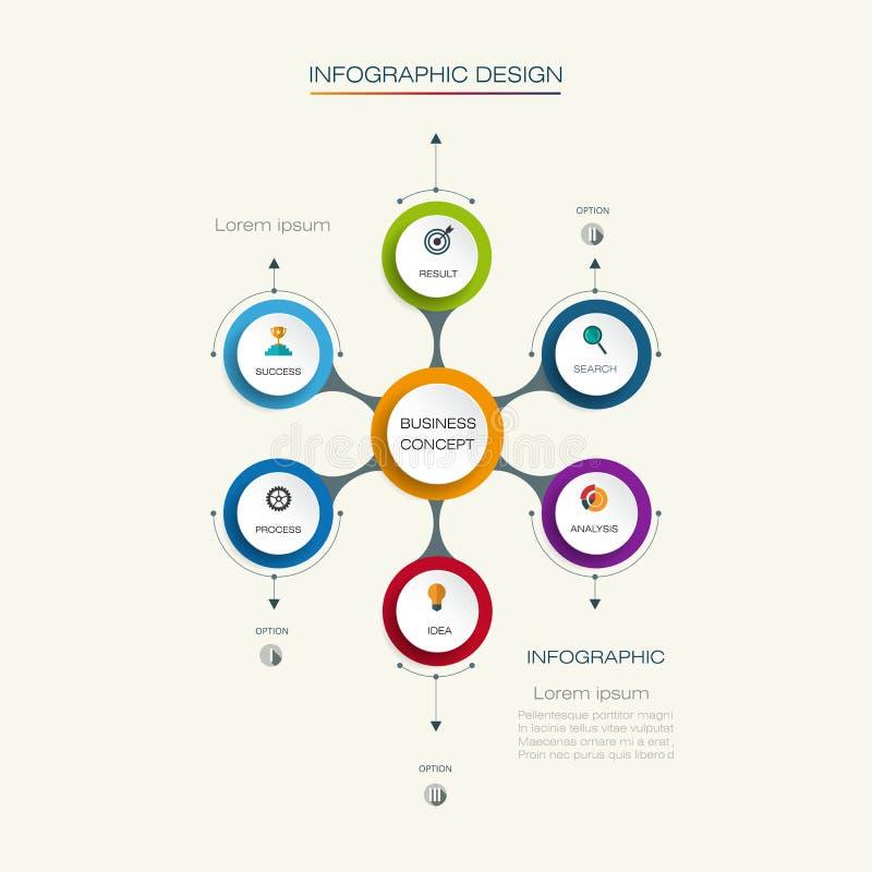 Vector infographic malplaatje met 3D document etiket stock illustratie