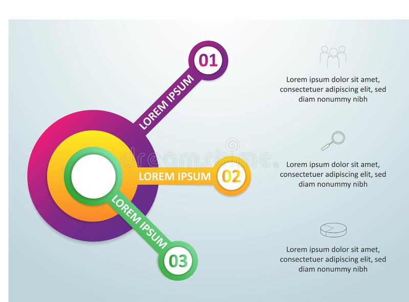Vector infographic malplaatje met 3D document etiket, geïntegreerde cirkels Bedrijfsconcept met 3 opties Voor inhoud, diagram, stock illustratie