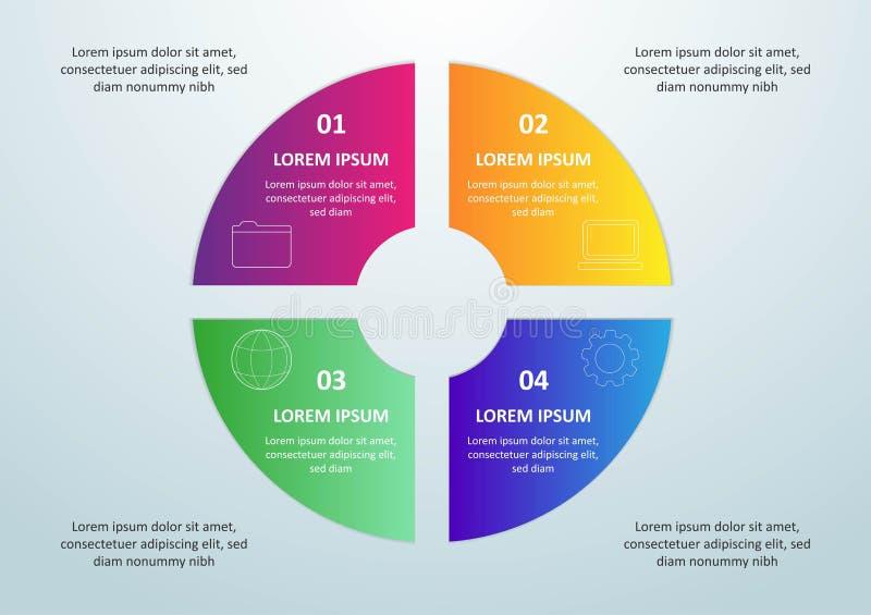 Vector infographic malplaatje met 3D document etiket, geïntegreerde cirkels Bedrijfsconcept met 4 opties Voor inhoud, diagram, stock illustratie