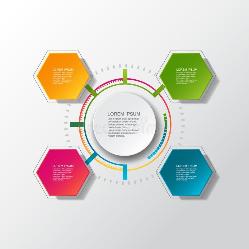 Vector infographic malplaatje met 3D document etiket, geïntegreerde cirkels Kan voor werkschemalay-out, diagram, bedrijfsstapopti royalty-vrije illustratie