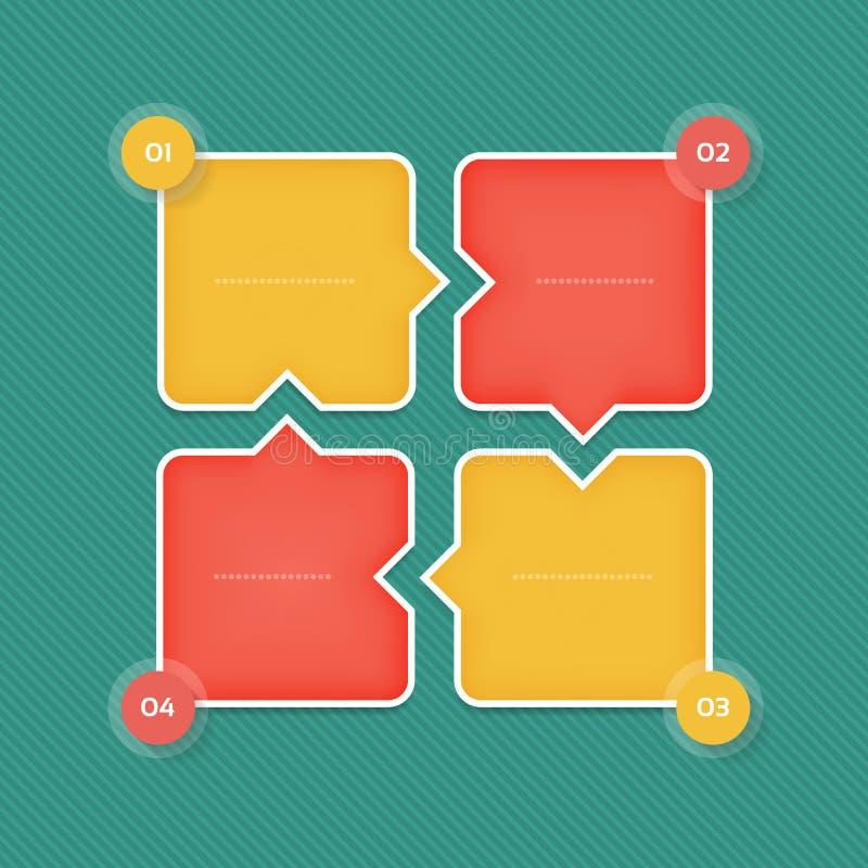 Vector infographic malplaatje voor diagram, grafiek, presentatie en grafiek Bedrijfsconcept met 4 opties, delen, stappen vector illustratie