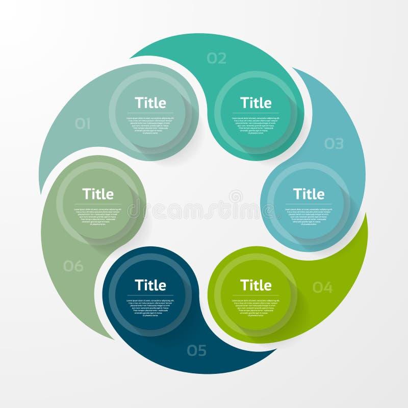 Vector infographic malplaatje voor diagram, grafiek, presentatie en grafiek Bedrijfsconcept met 6 opties, delen, stappen stock illustratie