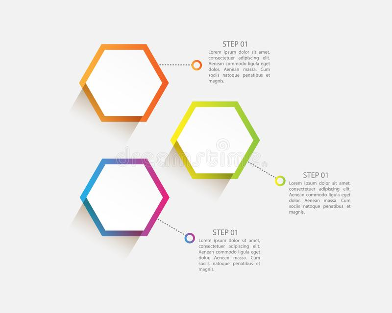 vector infographic moderno con tres pasos para la presentación stock de ilustración