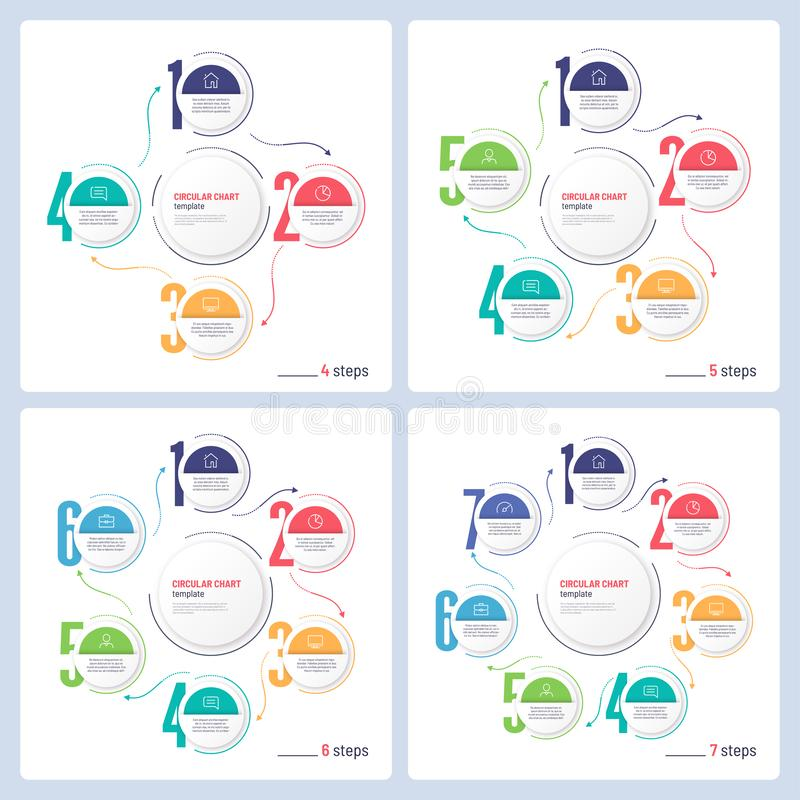 Vector infographic numbered process circular chart templates. 4 5 6 7 steps stock images