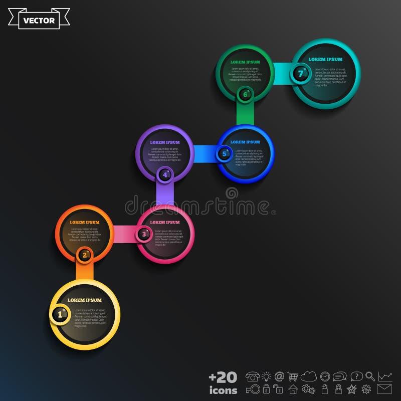 Vector infographic ontwerp met kleurrijke cirkel Bedrijfs concept stock illustratie