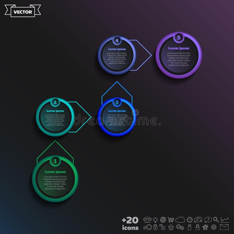 Vector infographic ontwerp met kleurrijke cirkel stock illustratie