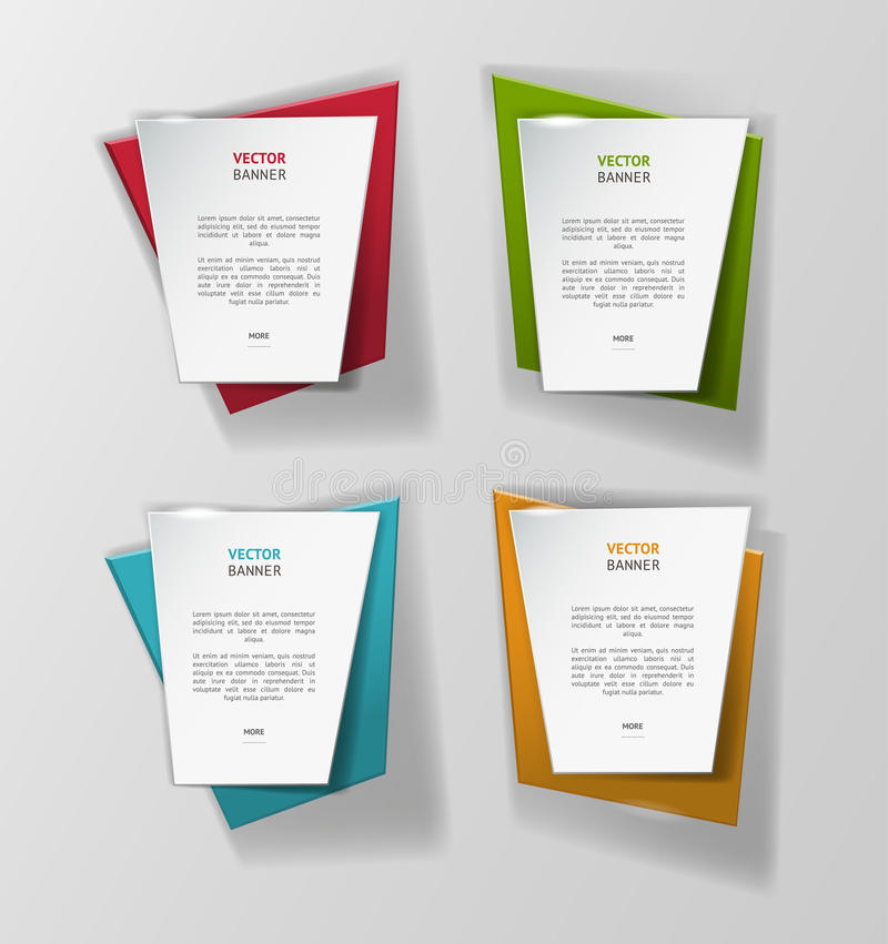 Vector infographic origami banners set. Vector illustration for web and design stock illustration