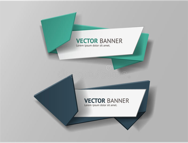 Vector infographic origami banners set. Vector illustration for your web and print visualization, presentation and design stock illustration