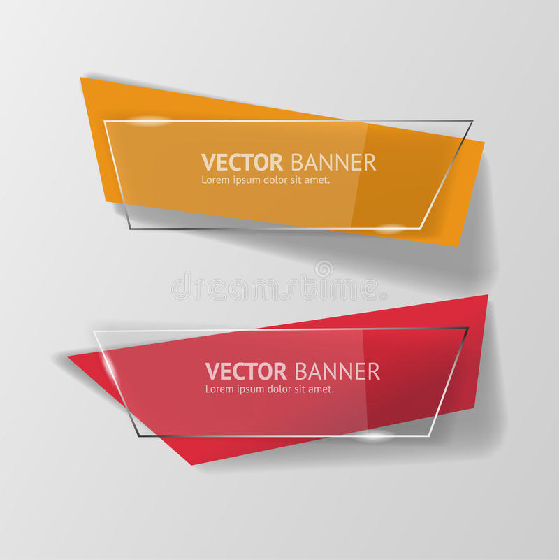 Vector infographic origami banners set. For your print and web presentation, visualization and design stock illustration