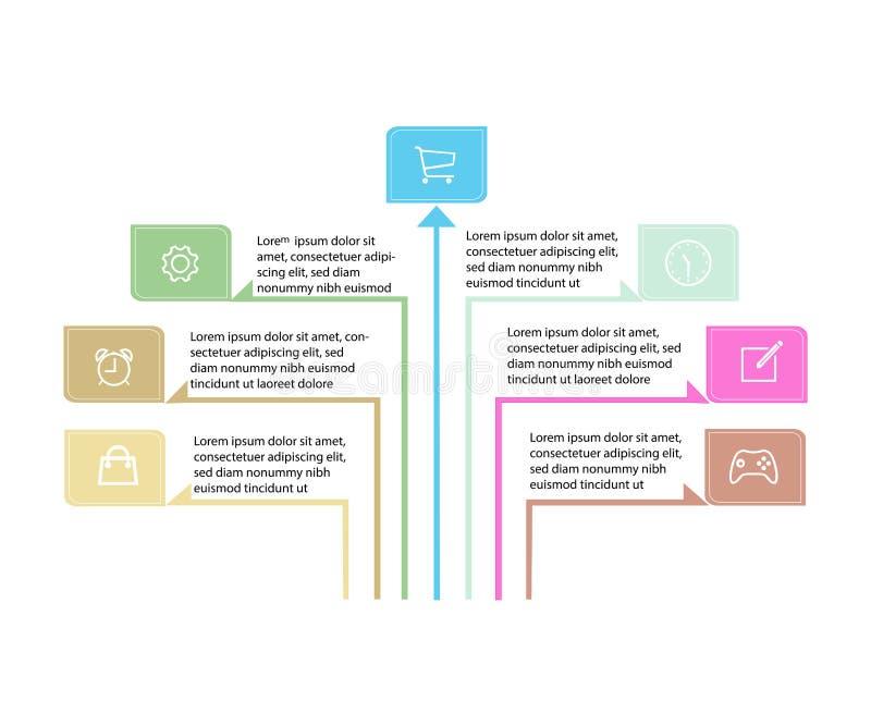 Vector infographic pijlen Bedrijfsconcept met 7 opties, delen, stappen of processen stock illustratie