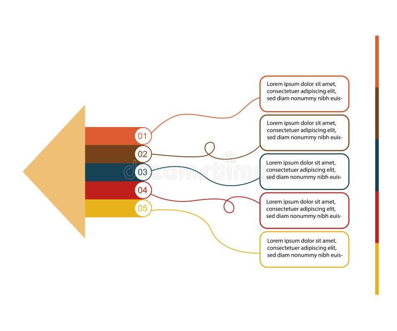 Vector infographic pijlen Bedrijfsconcept met 5 opties, delen, stappen of processen royalty-vrije illustratie