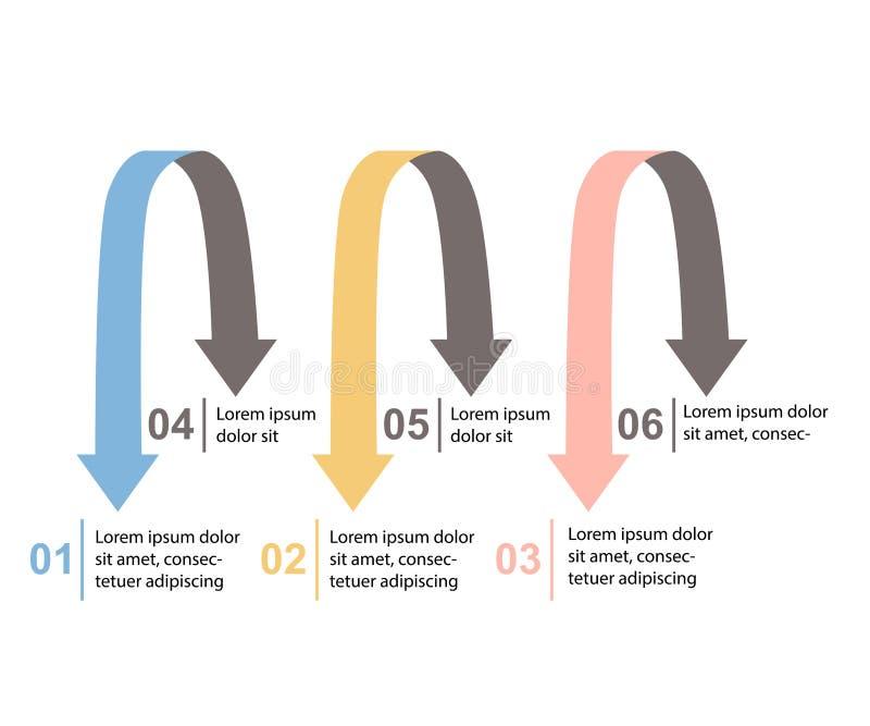 Vector infographic pijlen Bedrijfsconcept met 6 opties, delen, stappen of processen vector illustratie