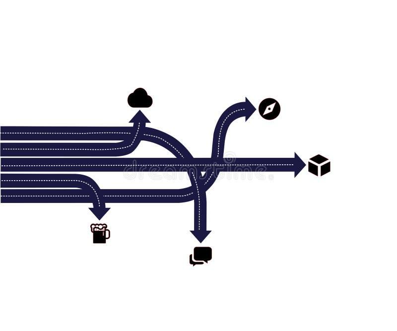 Vector infographic pijlen Bedrijfsconcept met 5 opties, delen, stappen of processen stock illustratie