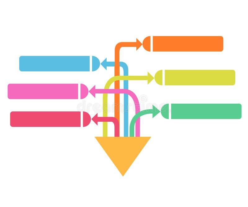 Vector infographic pijlen Bedrijfsconcept met 6 opties, delen, stappen of processen royalty-vrije illustratie