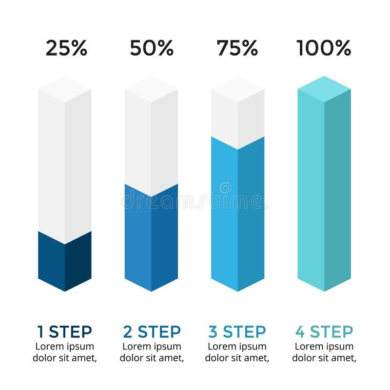 Vector infographic pijlen, diagramgrafiek, 3D presentatie van de kolomgrafiek Bedrijfsconcept met opties, delen, stappen vector illustratie
