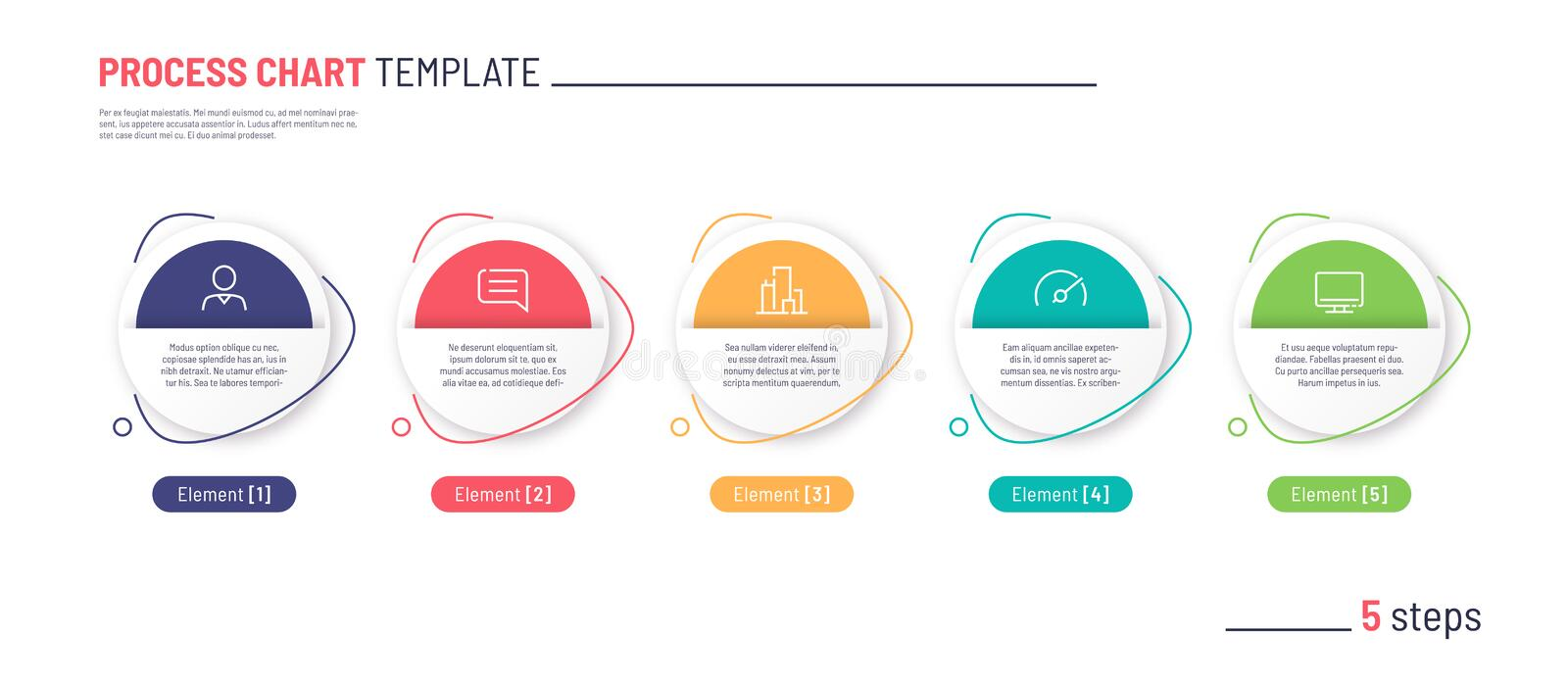 Vector infographic process chart template. Five steps royalty free stock images