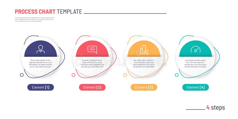 Vector infographic process chart template. Four steps royalty free stock image
