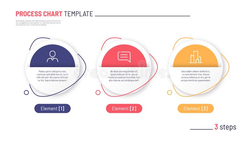 Vector infographic process chart template. Three steps royalty free stock photo