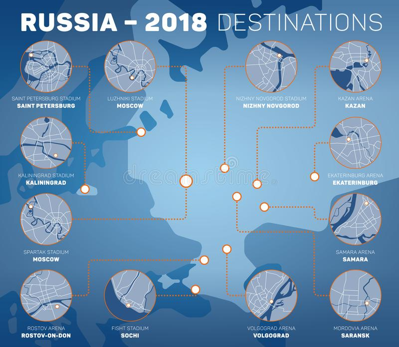Vector infographic representing venues of Russia 2018 competition stock illustration