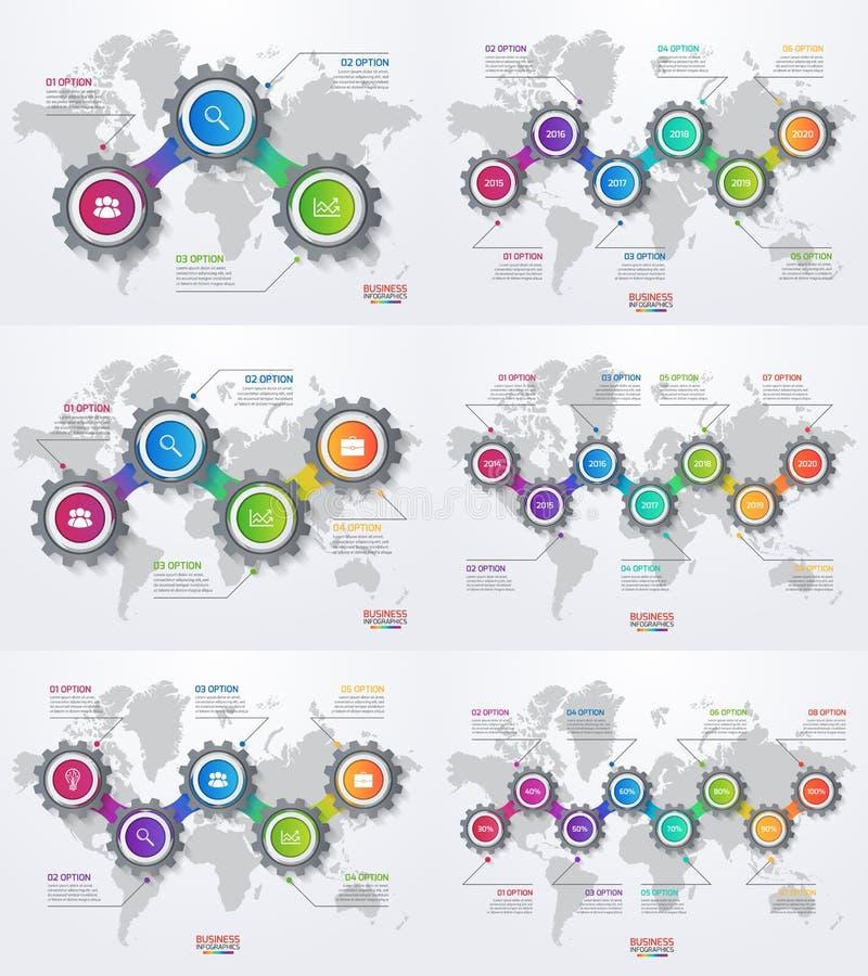 Vector infographic Satz Schablonen mit Gängen und Weltkarte stock abbildung