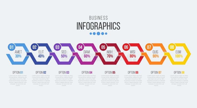 Vector infographic Schablone der Zeitachse mit 8 Schritten mit Pfeilen stock abbildung