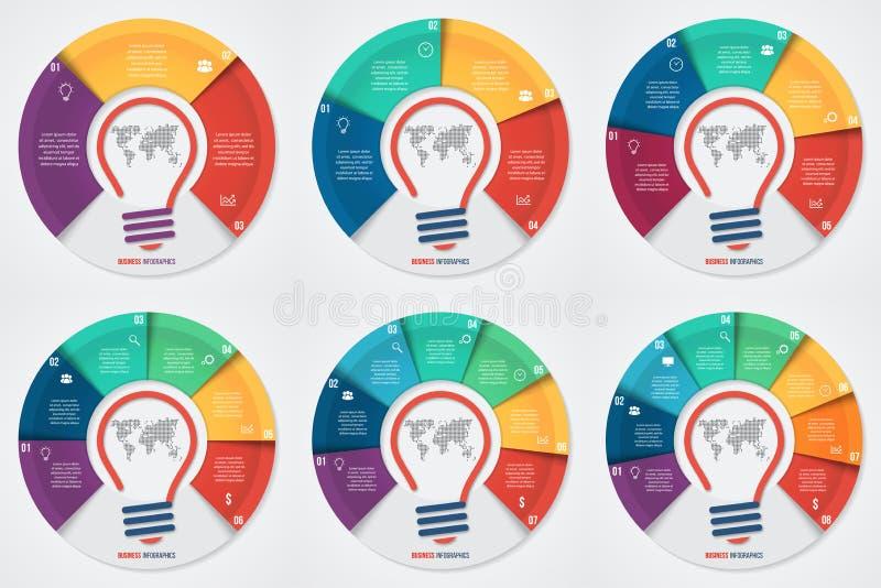 Vector infographic Schablone des Glühlampeideen-Kreisdiagramms für Diagramme lizenzfreie abbildung