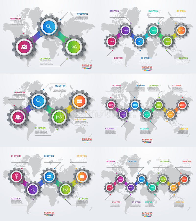 Vector infographic set of templates with gears and world map stock download vector infographic set of templates with gears and world map stock vector illustration of gumiabroncs Image collections
