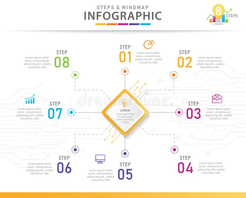 8 Steps Mindmap infographic diagram with curcuits. Infographic template for business. 8 Steps Modern Mindmap diagram with curcuits. presentation vector stock illustration