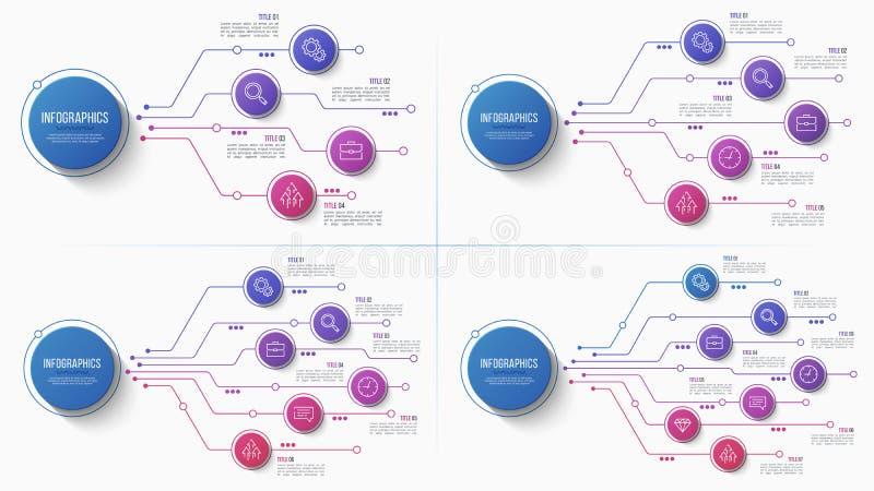 Vector infographic Struktogramm mit 4 5 6 7 Wahlen stock abbildung