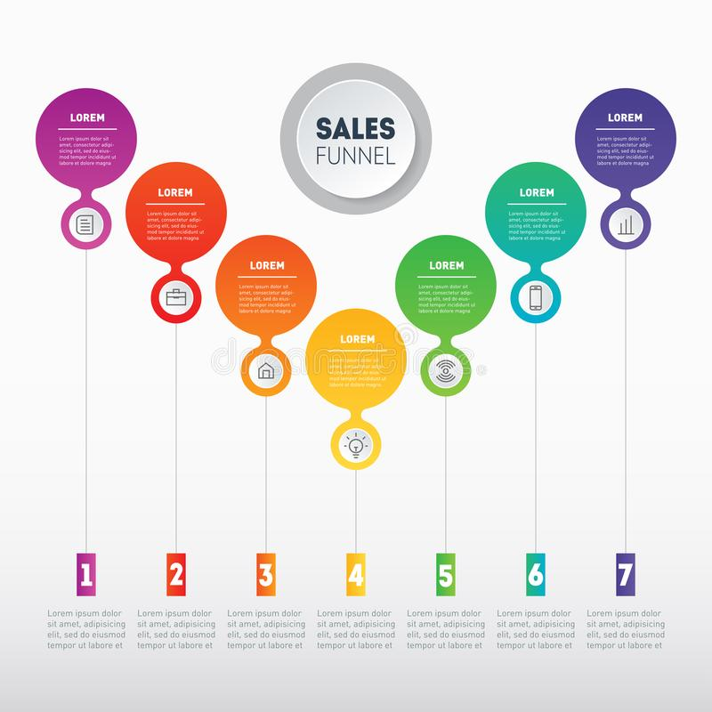 Vector infographic of technology or education process. Business. Presentation concept with 7 options. Web Template of a sales pipeline, purchase funnel, info royalty free illustration