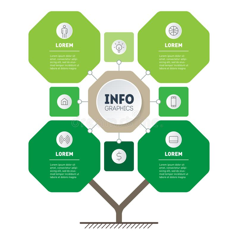 Vector infographic of technology or education process with Eight points. Template of tree, info chart or diagram. Eco Business. Presentation concept with 8 or 4 vector illustration