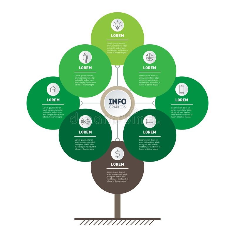 Vector infographic of technology or education process with 8 options. Web Template of tree, info chart or diagram. Vertical eco. Business presentation concept stock illustration