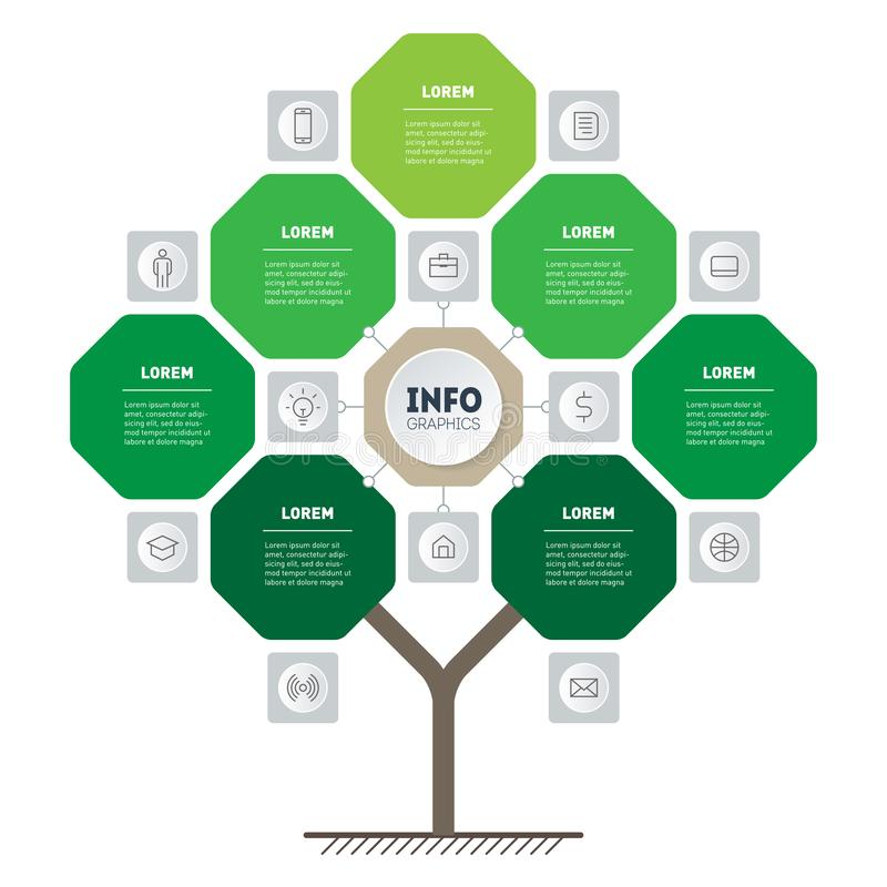 Vector infographic of technology or education process with 7 points and 12 icons. Template of tree, info chart or diagram. Eco. Business presentation concept stock illustration