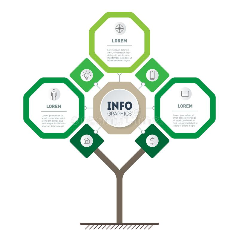 Vector infographic of technology or education process with 3 points and 7 icons. Template of tree, info chart or diagram. Eco. Business presentation concept stock illustration