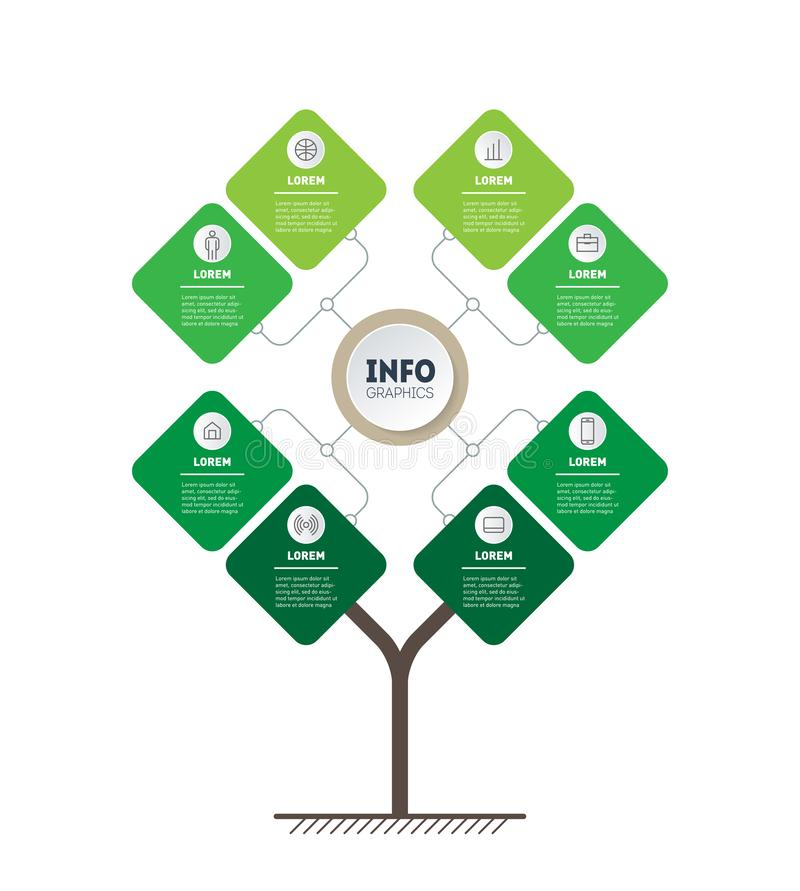 Vector infographic of technology or education process with 8 points. Template of tree, info chart or diagram. Eco Business. Presentation concept with eight royalty free illustration