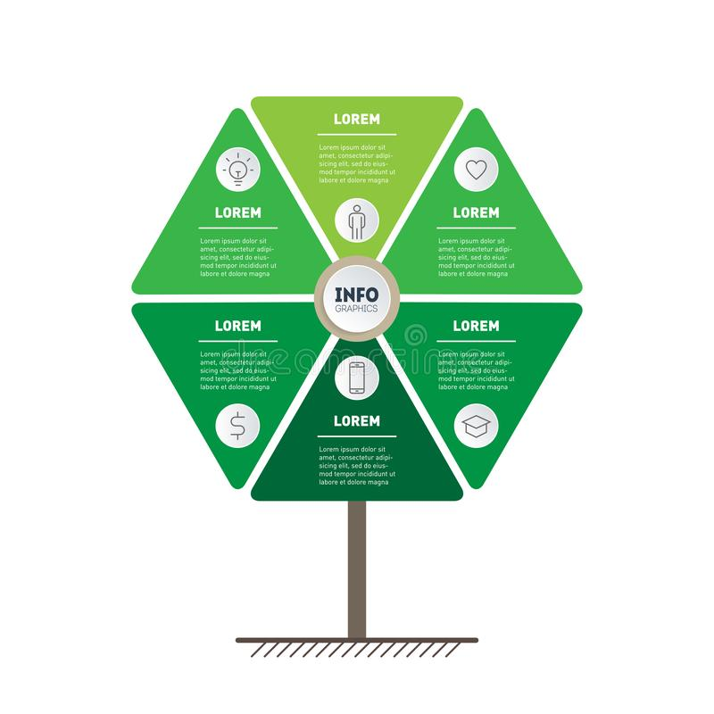 Vector infographic of technology or education process with 6 points. Template of tree, info chart or diagram. Vertical eco. Business presentation concept with stock illustration