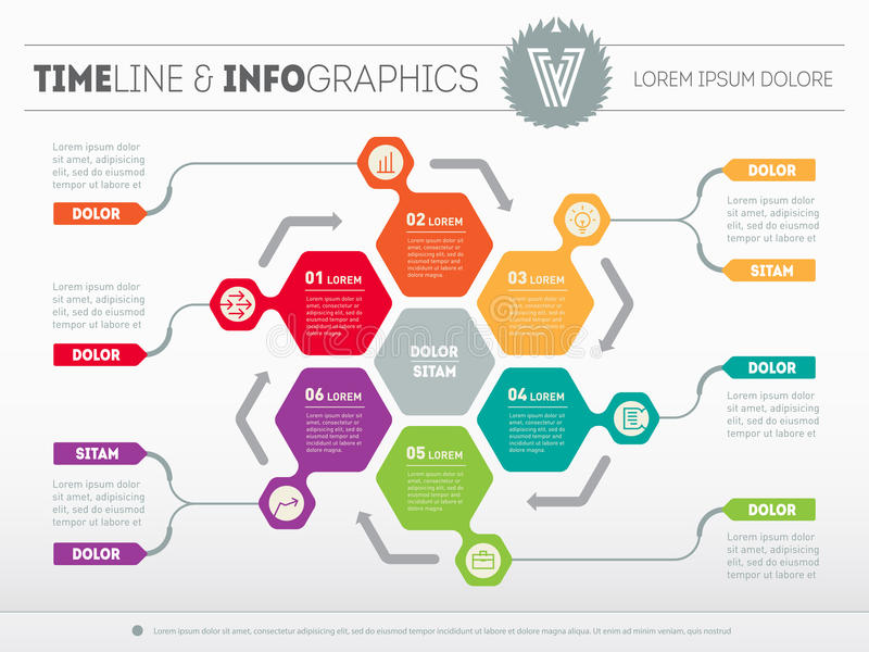 Vector infographic of technology or education process. Web Template for circle diagram or presentation. Business concept with 6 o. Ptions stock illustration