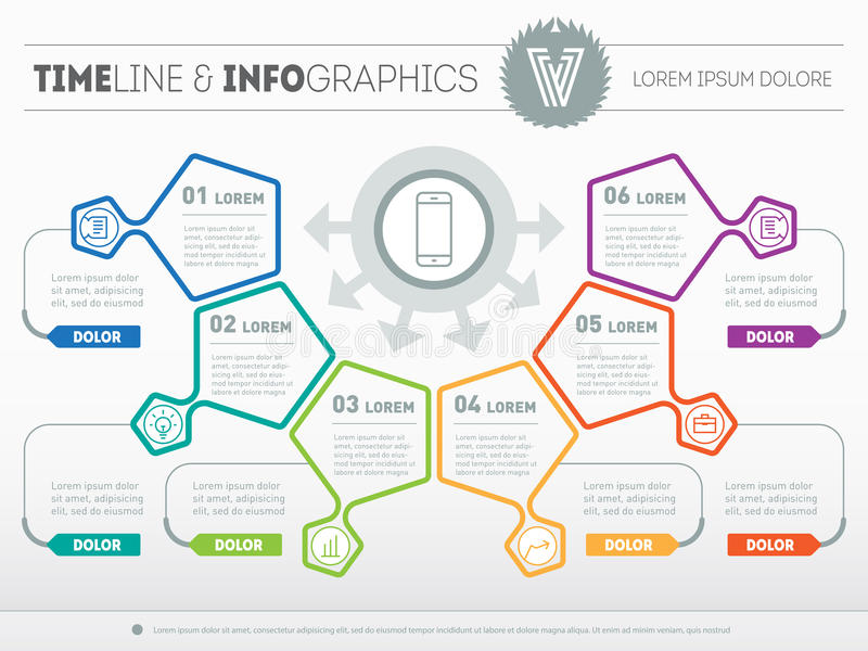 Vector infographic of technology or education process. Web Template of a pyramidal chart, diagram or presentation. Part of the re. Port with logo and icons set royalty free illustration