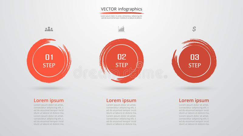 Vector infographic template. Abstract infographic template with 3 steps for success. Business template with three options for presentation, brochure, diagram stock illustration