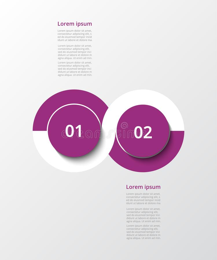 Vector infographic template. Abstract infographic template with 2 steps for success. Business template with two options for presentation, brochure, diagram vector illustration