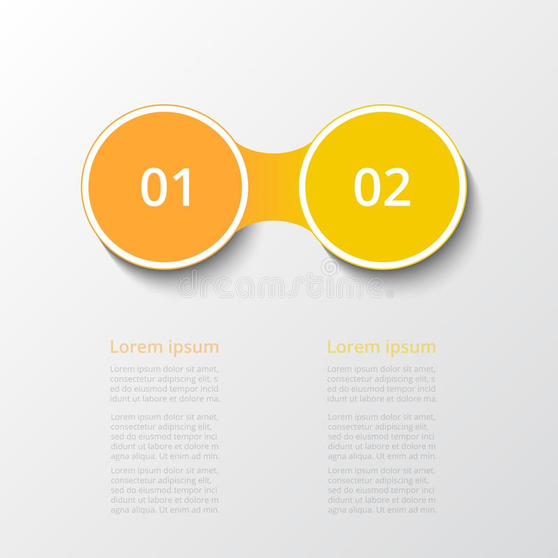 Vector infographic template. Abstract infographic template with 2 steps for success. Business template with two options for presentation, brochure, diagram royalty free illustration