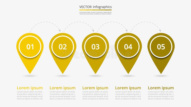 Vector infographic template. Abstract infographic milestones template with 5 steps for success. Business slide with five options for brochure, diagram, workflow stock illustration