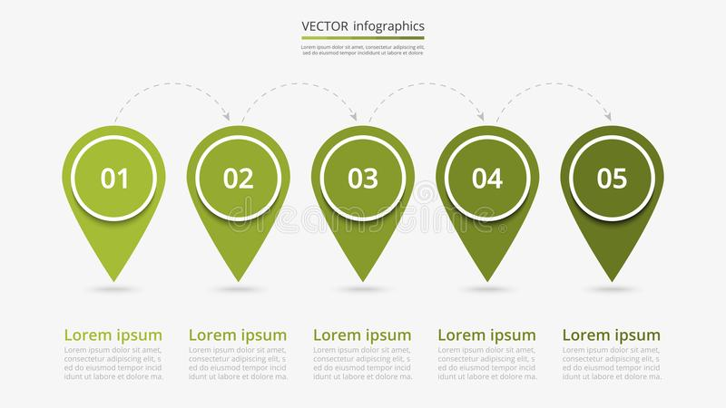 Vector infographic template. Abstract infographic milestones template with 5 steps for success. Business slide with five options for brochure, diagram, workflow royalty free illustration