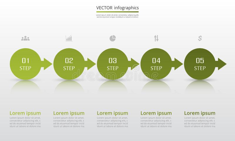Vector infographic template. Abstract infographic template with 5 steps for success. Business circle template with five options for brochure, diagram, workflow stock illustration
