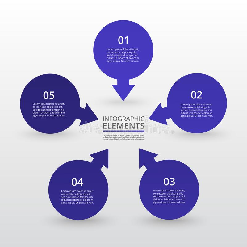 Vector infographic template. Abstract infographic template with 5 steps for success. Business circle template with four options for brochure, diagram, workflow royalty free illustration