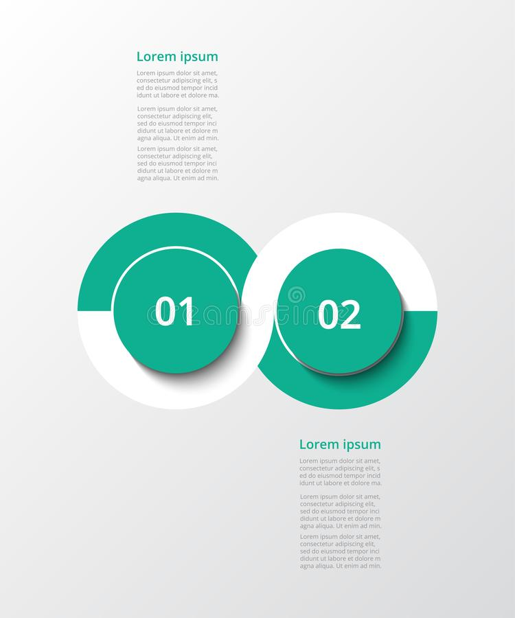 Vector infographic template. Abstract infographic template with 2 steps for success. Business template with two options for presentation, brochure, diagram stock illustration
