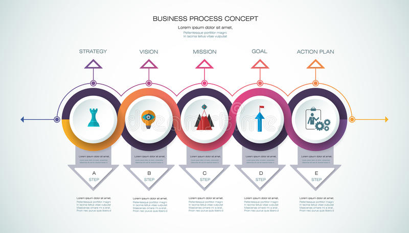 Vector infographic template Business concept with options. Vector infographic template with 3D paper label, integrated circles. Business process concept with vector illustration