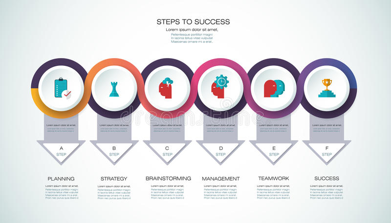 Vector infographic template Business concept with options. Vector infographic template with 3D paper label, integrated circles. Business, steps to success vector illustration
