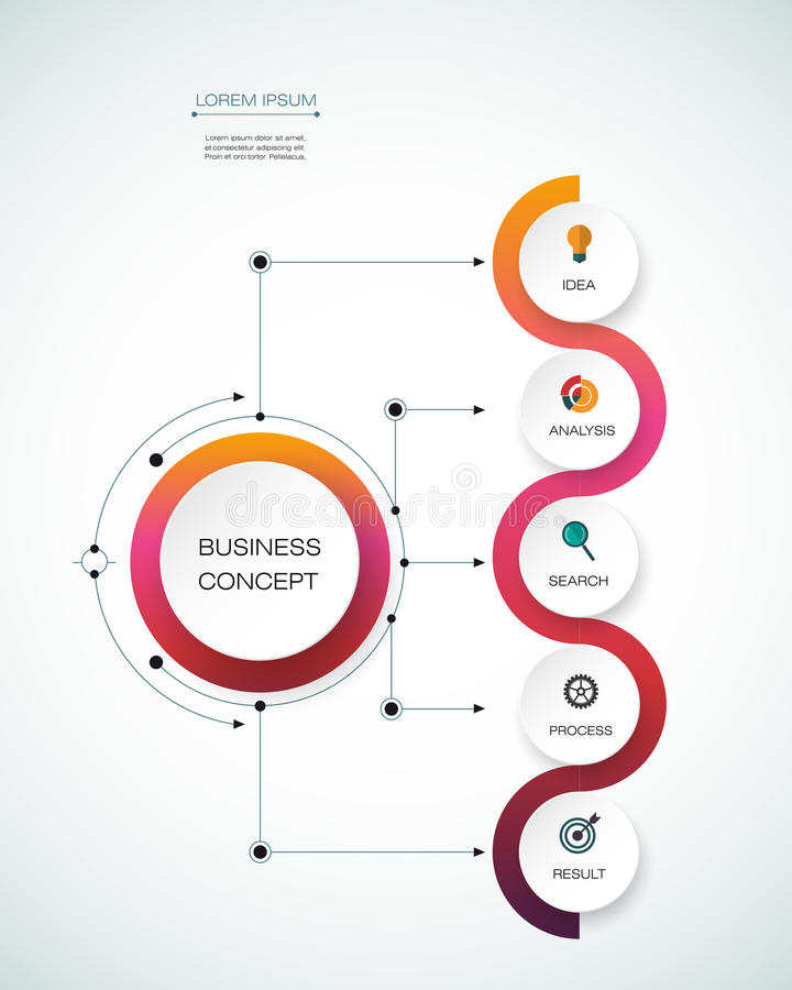 Vector infographic template. Business concept with options. Vector infographic template with timeline 3D paper label, integrated circles. Business concept with royalty free illustration
