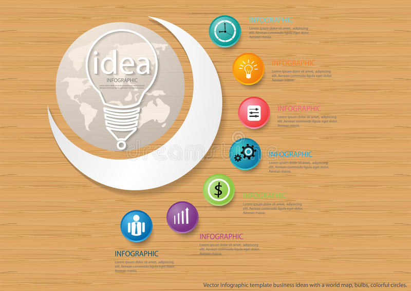 Vector Infographic template business ideas with a world map, bulbs, colorful circles. Infographic template business ideas with a world map, bulbs, colorful vector illustration